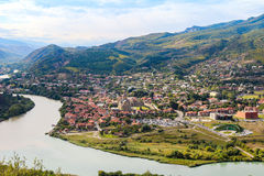 The confluence of the rivers Kura and Aragvi Mtskheta in Georg. The picturesque landscape with the confluence of the rivers Kura and Aragvi Mtskheta in Georgia Royalty Free Stock Photos