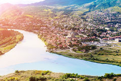 The confluence of the rivers Kura and Aragvi Mtskheta in Georg. The picturesque landscape with the confluence of the rivers Kura and Aragvi Mtskheta in Georgia Stock Images
