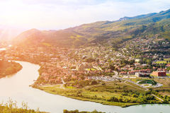 The confluence of the rivers Kura and Aragvi Mtskheta in Georg Royalty Free Stock Image