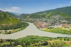 Confluence of the rivers Kura and Aragvi, Mtskheta, Georgia Stock Image
