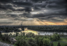 Confluence. Of rivers Sava and Danube in Belgrade Royalty Free Stock Image