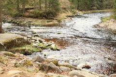 Confluence of rivers Vydra and Vltava Stock Photos