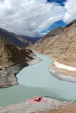 Confluence of rivers Zanskar and Indus, Hiamalayas Stock Photos