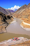 Confluence of Sindhu (Indus) and Zanskar Rivers in Ladakh Stock Photo