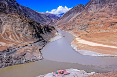 Confluence of Sindhu (Indus) and Zanskar Rivers in Ladakh Royalty Free Stock Images