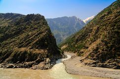 Confluence of Spat Gah and Indus rivers, Gilgit-Baltistan Pakistan. Confluence of Spat Gah and Indus rivers, Gilgit-Baltistan, Pakistan Stock Images