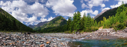The confluence of two mountain rivers Stock Photography