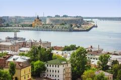 Confluence of Volga and Oka. Nizhny Novgorod. Russia. RUSSIA, NIZHNY NOVGOROD - JUL 28, 2017: One of the cities of the World Cup 2018. Famous place in Nizhny Stock Photos