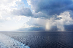 Confluence of waters of Ionian and Tyrrhenian Seas Stock Photo