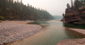 Flathead and Spotted Bear Rivers meeting point in the Bob Marshall wilderness area during the 2017 fall fires in Montana USA. Confluence where the Flathead and Royalty Free Stock Photos