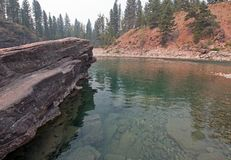 Flathead and Spotted Bear Rivers meeting point in the Bob Marshall wilderness area during the 2017 fall fires in Montana USA Royalty Free Stock Image