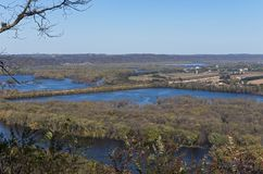Confluence of Rivers at Wyalusing State Park stock images