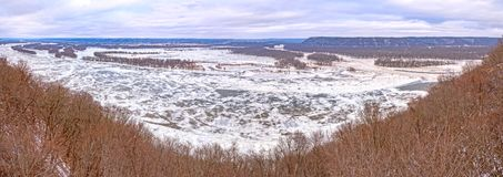 Confluence of the Wisonsin and Mississipi Rivers in Winter. Panoramic Confluence of the Wisonsin and Mississipi Rivers in Winter from Pikes Peak State Park in royalty free stock photo