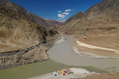Confluence of Zanskar and Indus rivers - Leh, India Royalty Free Stock Images