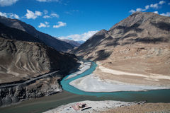 Confluence of Zanskar and Indus rivers. Leh, Ladakh, India royalty free stock images