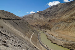 Confluence of Zanskar and Indus rivers - Leh, Ladakh, India Royalty Free Stock Photo