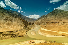 Confluence of Zanskar and Indus rivers - Leh, Ladakh, India Royalty Free Stock Photos