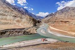 Confluence of Zanskar and Indus rivers - Leh, Ladakh, India Stock Images