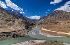 Confluence of Zanskar river and Indus river, Leh, Ladakh, Jammu and Kashmir, India. Stock Images