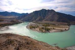 Confluencia de los ríos de la turquesa Fotos de archivo libres de regalías