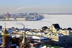 Confluent de l'Oka dans le Volga. photographie stock