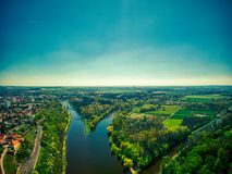 Confluent des rivières d'Elbe et de Vltava image stock