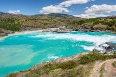 Confluenza del fiume del panettiere e del fiume di Neff, Cile immagini stock libere da diritti
