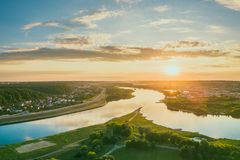 Confluenza di Neris e di Neman, Kaunas, Lituania fotografia stock