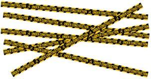 Conforme a la página del sitio web de la construcción con las fronteras rayadas negras y amarillas vector el ejemplo Web de la ra stock de ilustración