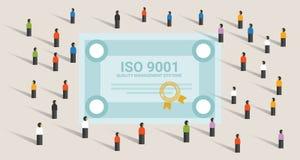 A conformidade internacional padrão da certificação dos sistemas de gerenciamento da qualidade do ISO 9001 consegue junto a lider ilustração do vetor