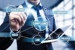 A conformidade ordena o conceito regulamentar da tecnologia do negócio da política da lei Fotos de Stock Royalty Free