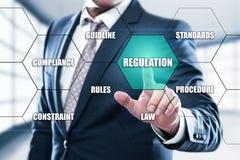 A conformidade regulamentar ordena o conceito do padrão da lei Imagens de Stock