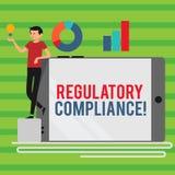 Conformité de réglementation des textes d'écriture de Word Le concept d'affaires pour l'organisation s est adhérence aux lois illustration stock