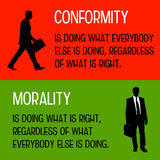 Conformity and morality. Difference between doing what is right and doing what everybody else is doing Royalty Free Stock Photos