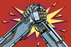 Confrontación de la lucha del pulso de los robots que lucha Imagen de archivo
