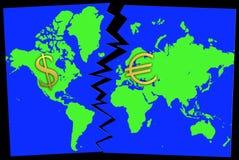 Confrontación euro del dólar Foto de archivo libre de regalías