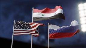 Confrontatie tussen Rusland en de Verenigde Staten in Syrië Concept Drie golvende vlaggen 3D Illustratie royalty-vrije illustratie