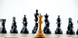 Confrontation against black ranks. Chess. Various chess metaphors. Focus on white queen Stock Photography