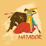 Confrontation with buffalo matador. Illustration for design bullfight tickets, bars, pubs, sports and entertainment.