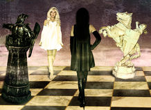 Confrontation of chess queens. Royalty Free Stock Photos