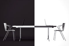 Confrontation Concept. Black and White Chairs and Desk. 3d Rende Royalty Free Stock Photo