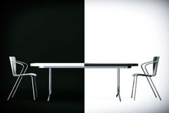 Confrontation Concept. Black and White Chairs and Desk. 3d Rende Royalty Free Stock Photography
