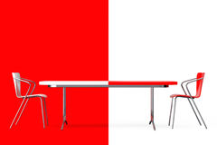 Confrontation Concept. Black and White Chairs and Desk. 3d Rende Stock Photos