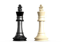 Confrontation of Kings. Confrontation of chess pieces kings, isolated on white background Stock Photography
