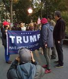Confrontation at Political Rally, Washington Square Park, NYC, NY, USA. It`s almost one year after the historic election of Donald Trump as the 45th President of Stock Image