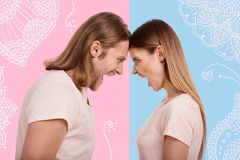 Profile of furious couple shouting at each other royalty free stock images