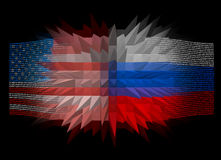 Confrontation between the US and Russia. Confrontation, the clash of the United States and Russia, on the example of national flags Royalty Free Stock Photo