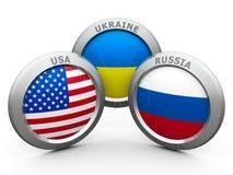 Confrontation USA UA RU Royalty Free Stock Photo