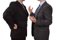 Confrontation at work. Conflict in office business executive arguing with his boss at meeting Stock Photo