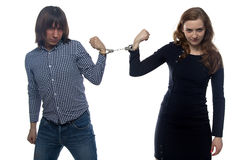 Confrontation of young man and woman. Confrontation of young men and women on white background Royalty Free Stock Image